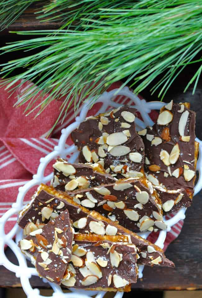 the traditional saltine cracker toffee with a mexican twist this chile almond christmas crack has