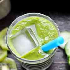 This green tea smoothie is a delicious way to wake-up! Brewed green tea and baby kale make an antioxidant power drink sweetened with kiwi and frozen mango.