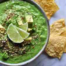 A simple (and simply addictive) tomatillo avocado salsa with raw tomatillos, avocados, and chiles, and blended until smooth and creamy, ready in 10 minutes!