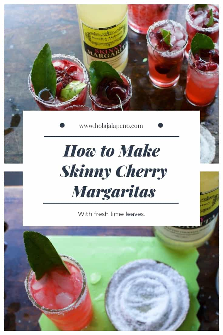This skinny cherry margarita made with fresh sweet cherries and fragrant lime leaves is a cocktail you can sip on all summer and not feel an ounce of guilt. #skinnymargarita #margaritarecipe #cherrymargarita #margaritamix