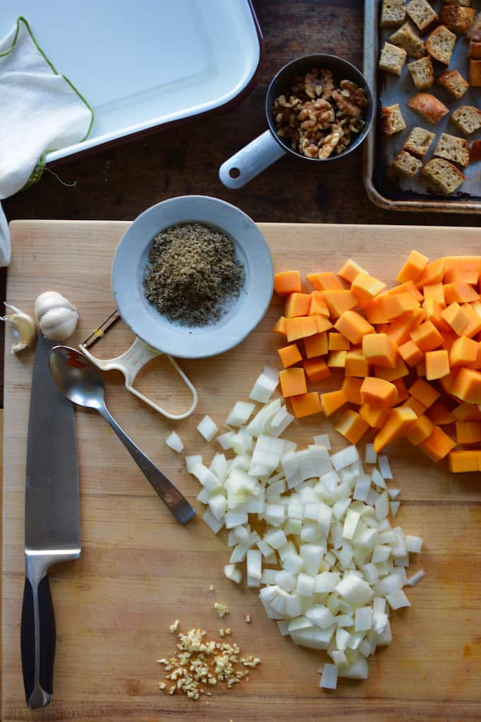 Thanksgiving isn't complete without the stuffing. This Butternut Squash, Kale, and Walnut Stuffing combines all of fall into a delicious vegan version.