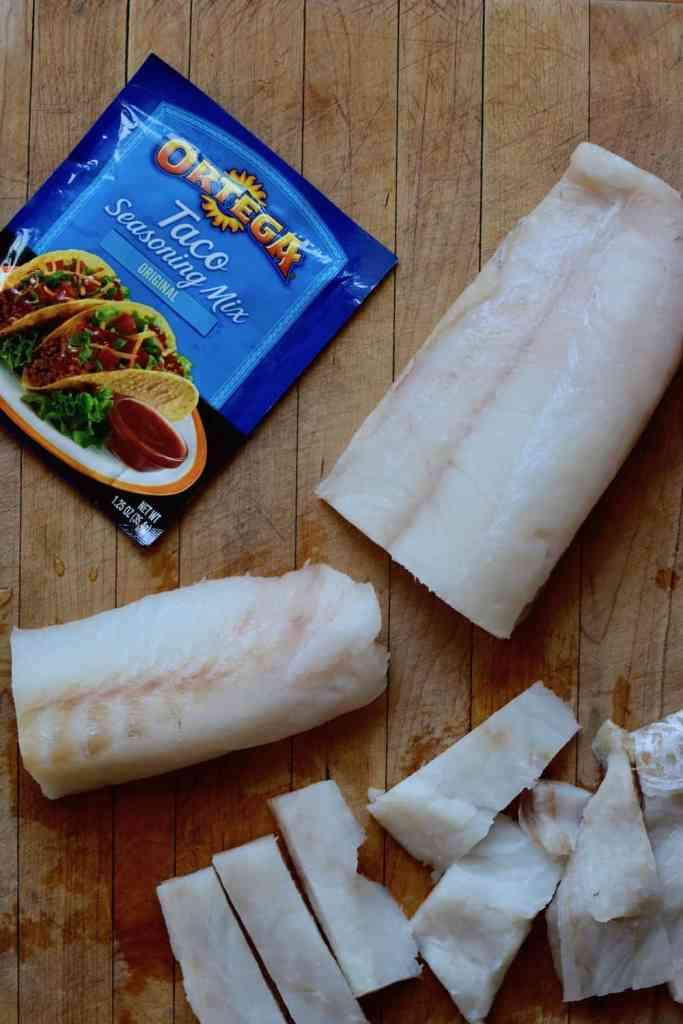 Thick pieces of Wild Alaskan Cod for fish tacos recipe