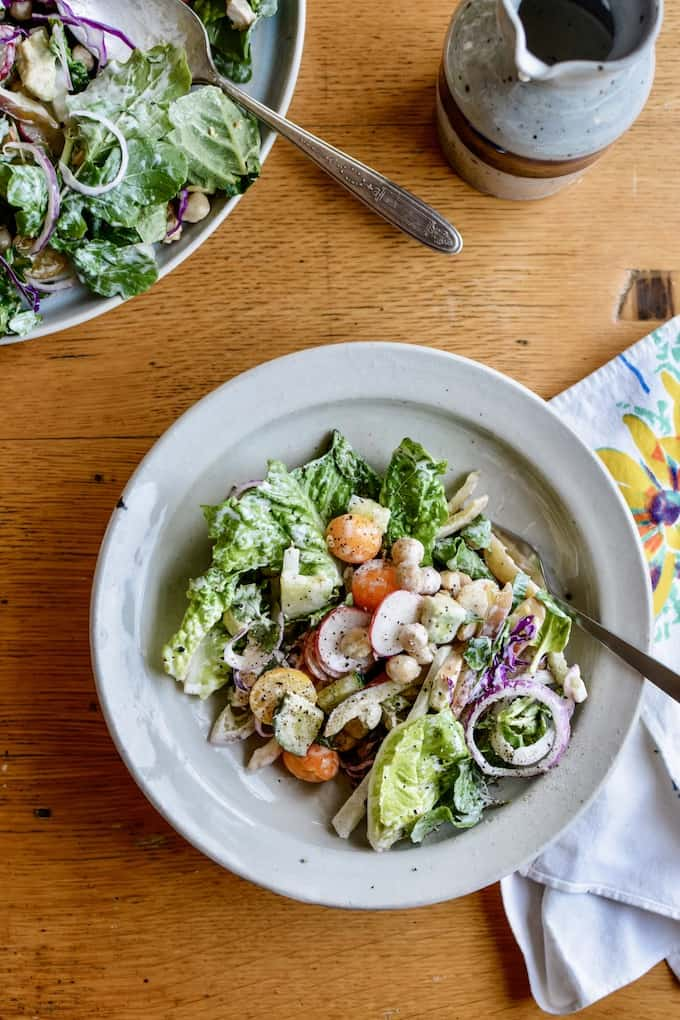 This restaurant-style ranch dressing is super versatile. Use it to top this Mexican Chopped Salad or as a dip! #sponsored #HVRlove #holajalapeno #choppedsalad