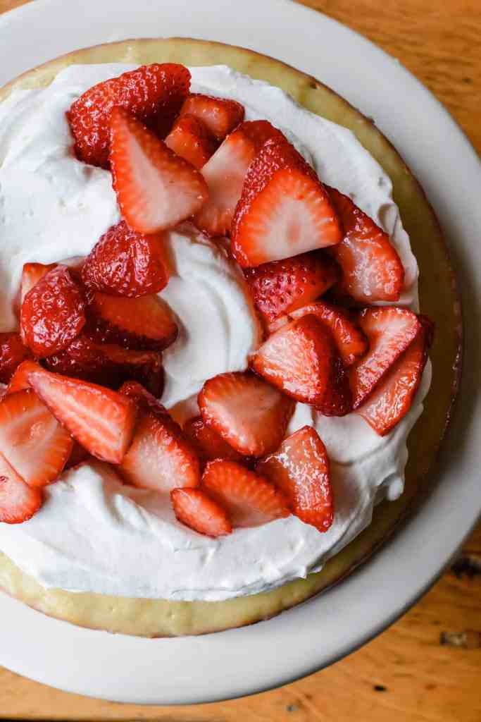 The most delicious Cinco de Mayo recipe is this Meyer lemon Tres Leches Strawberry Shortcake. #tresleches #meyerlemon #cincodemayo #strawberryshortcake