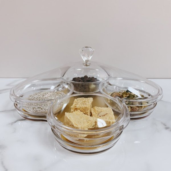 4 Compartments Gold Serving Tray with Cover - 1