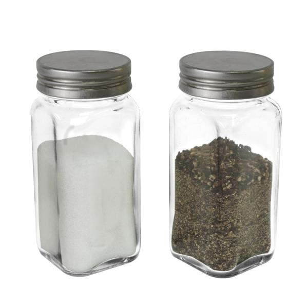 4 oz empty square glass bottle with metal lid-set