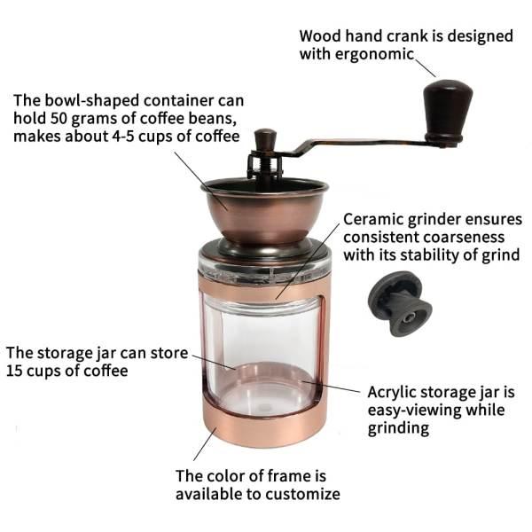 CM-DY03 rose Gold Manual Coffee Grinder-detail