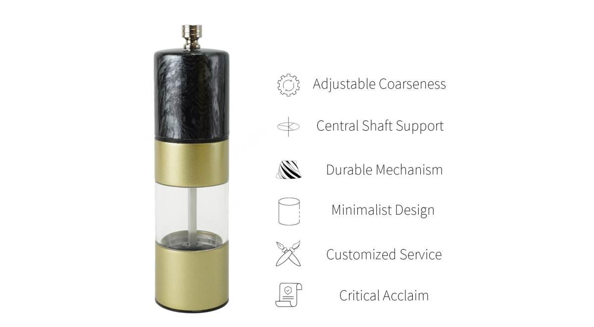 Features of Black marble and matt gold pepper grinder-SSAMP-BK