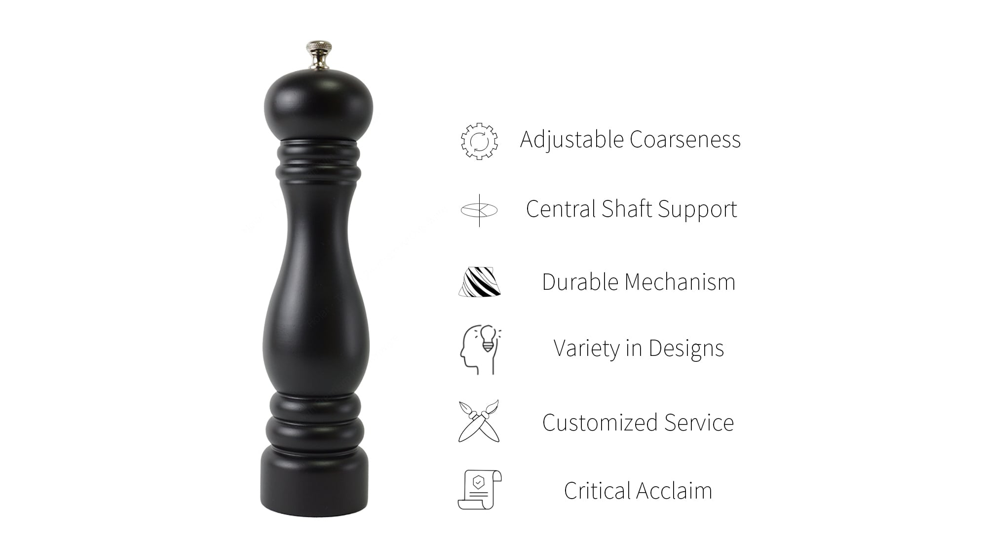 Holar AT wood manual salt pepper grinder feature