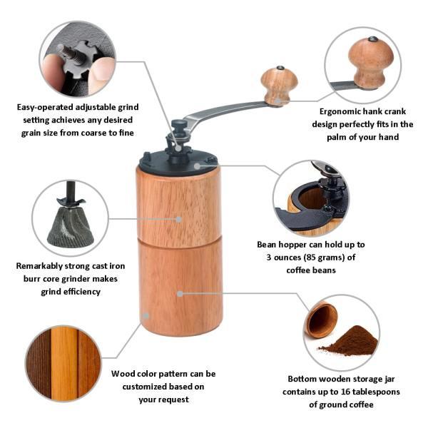 Holar CM-A18 19 wooden coffee grinder-detail