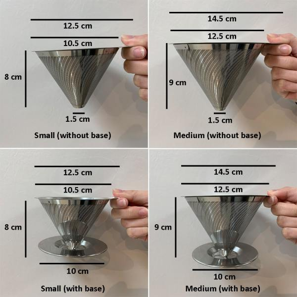 Holar - Coffee - Coffee Filter - PS-DC01-B Reusable Stainless Steel Double Coffee Dripper with Base - 2