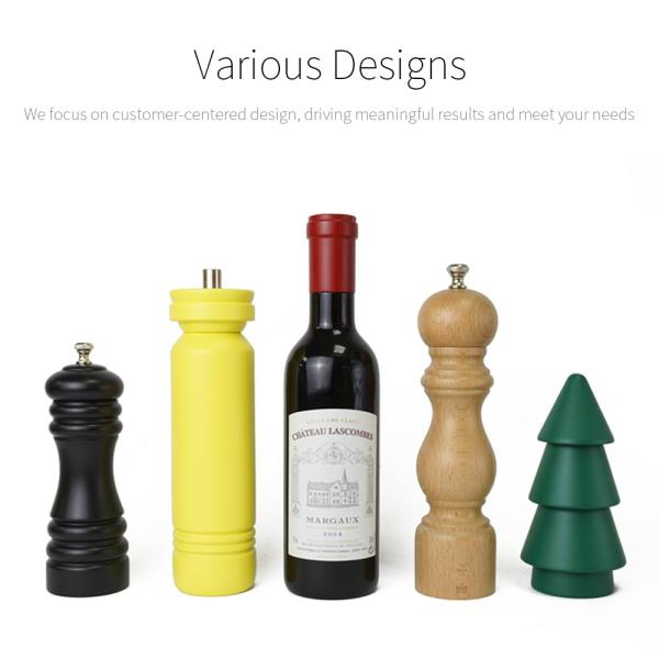 Holar - Salt and Pepper - Wood Mill - BR-02 Beer Bottle Shaped Pepper Mill - Various Designs - muti
