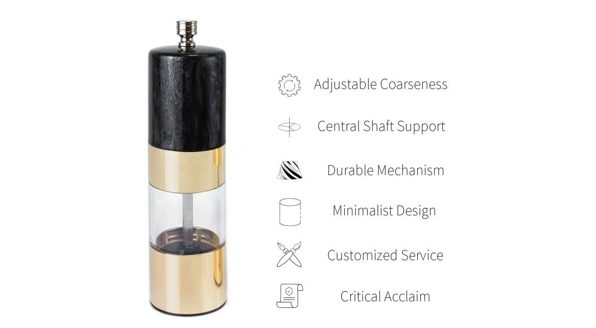 Holar gold and black marble combination pepper mills-SSAB-GD