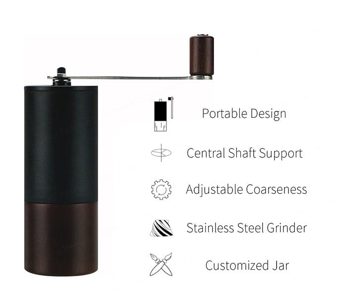 Portable Coffee Grinder with acrylic jar-wood