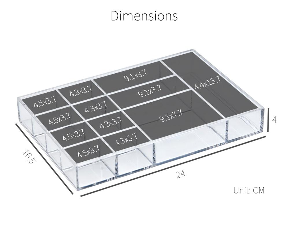 dimension of Holar AZ-16 12-section acrylic organizer
