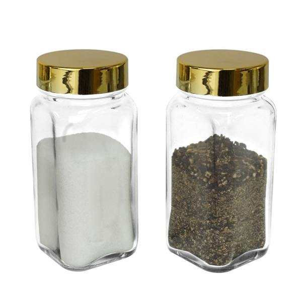 luxury glossy 4 oz gold spice bottles set