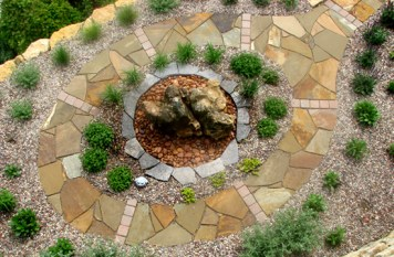 Flagstone Walk With Boulder Water Bubbler