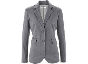 Baumwoll Jersey-Blazer, tailliert langarm in grau für Damen von bonprix