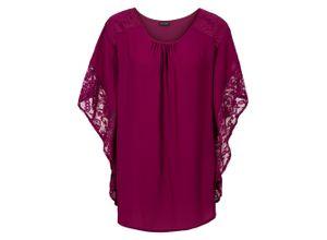 Bluse mit Spitzendetails halber Arm in lila für Damen von bonprix