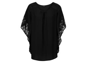 Bluse mit Spitzendetails halber Arm in schwarz für Damen von bonprix