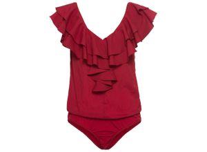 Blusen-Body mit Volants ohne Ärmel in rot für Damen von bonprix