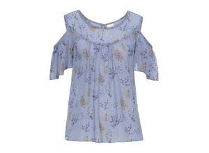 Cold-Shoulder-Bluse, bedruckt kurzer Arm in blau für Damen von bonprix
