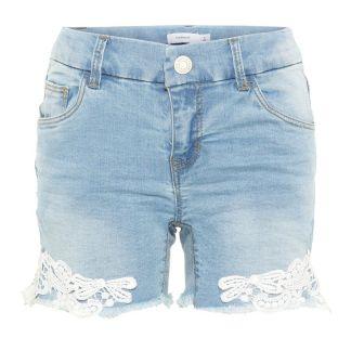 NAME IT Spitzen Jeans Shorts Damen Blau