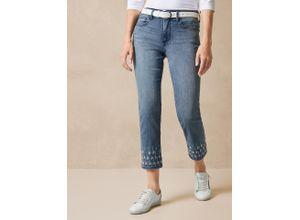 NYDJ Damen Ankle Jeans Stickerei Slim Fit einfarbig Palm Point