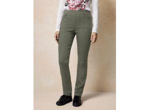 Raphaela by Brax Damen Jeans-Hose Slim Fit Grün einfarbig elastisch mit flexiblem Bund