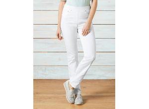 Raphaela by Brax Damen Jeans Hose Slim Fit Weiß einfarbig elastisch mit flexiblem Bund
