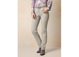 Walbusch Damen Jeans Hose Regular Fit Beige einfarbig elastisch mit flexiblem Bund
