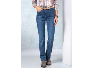 Walbusch Damen Jeans-Hose Regular Fit Blau einfarbig elastisch mit flexiblem Bund wärmend