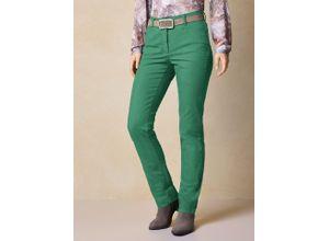 Walbusch Damen Jeans-Hose Regular Fit Grün einfarbig elastisch mit flexiblem Bund