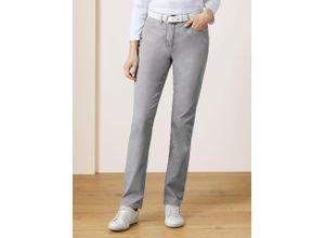 Walbusch Damen Jeans-Hose Regular Fit Grau einfarbig elastisch mit flexiblem Bund