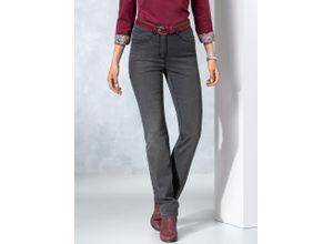 Walbusch Damen Jeans-Hose Regular Fit Grau einfarbig elastisch mit flexiblem Bund wärmend