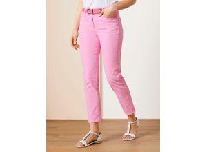 Walbusch Damen Jeans-Hose Regular Fit Rosé einfarbig elastisch mit flexiblem Bund