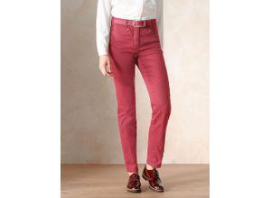 Walbusch Damen Jeans Hose Regular Fit Rot einfarbig elastisch mit flexiblem Bund