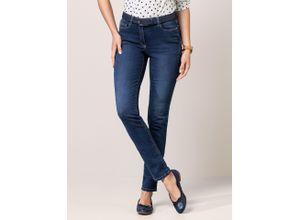 Walbusch Damen Jeans Hose Slim Fit Blau einfarbig atmungsaktiv elastisch mit flexiblem Bund