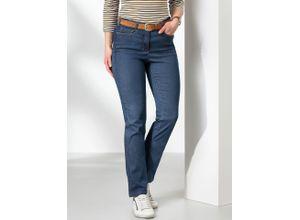 Walbusch Damen Jeans Hose Slim Fit Blau einfarbig elastisch mit flexiblem Bund