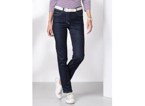 Walbusch Damen Jeans Hose Slim Fit Blau einfarbig elastisch mit flexiblem Bund temperaturausgleichend