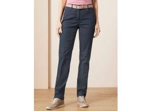 Walbusch Damen Jeans-Hose Slim Fit Blau gemustert elastisch