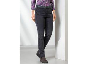 Walbusch Damen Jeans Hose Slim Fit Grau einfarbig elastisch mit flexiblem Bund