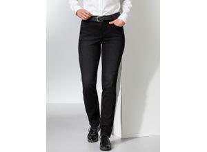 Walbusch Damen Jeans-Hose Slim Fit Schwarz einfarbig atmungsaktiv elastisch mit flexiblem Bund
