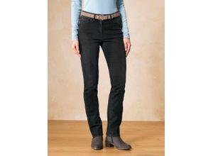 Walbusch Damen Jeans Hose Thermo Regular Fit Schwarz einfarbig elastisch mit flexiblem Bund wärmend