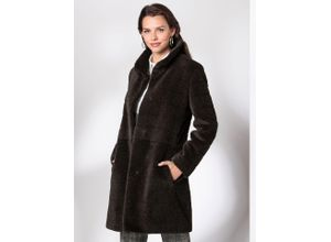 Walbusch Damen Alpaka Mohair-Mantel Handwerk in normalen Größen einfarbig braun