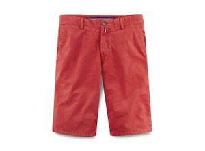 Walbusch Herren Bermuda-Hose Regular Fit Rot einfarbig mit flexiblem Bund