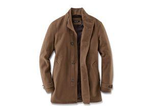 Walbusch Herren Stehkragen Mantel in normalen Größen einfarbig Vicunja-Braun