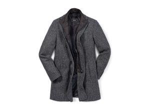 Walbusch Herren Woll-Mantel Grau einfarbig