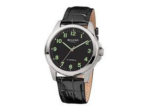 Armbanduhr für Damen & Herren mit Leuchtziffern Regent Schwarz