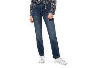 Gina Laura Damen Hose Tara, 5-Pocket, weit und gerade, blau, Baumwolle/Elasthan